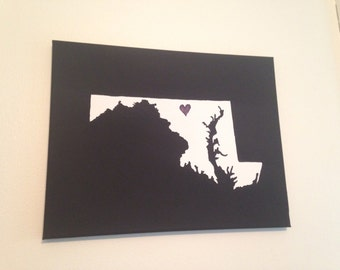 "Maryland Love Painting - 11x14"" canvas - Customized and hand painted Copy"