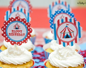 Circus 2 Inch Party Circles, Instant Download, Printable, Cupcake Toppers, Favor Tags, Decorative Circles
