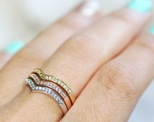 0.30ct THREE DIAMOND RINGS in 14k Rose,Yellow and White Gold Set of 3 Chevron Stack Rings