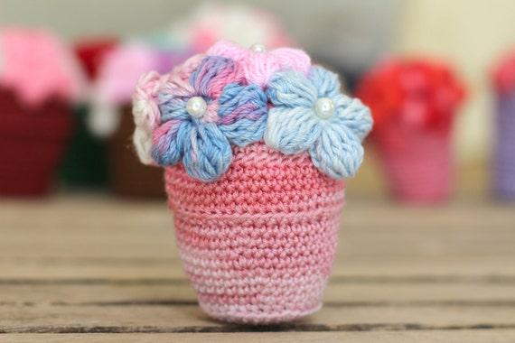 Crochet Flower In Pot Pattern : Crocheted flower Pot Pattern PDF Tutorial