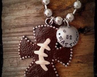 Football cross necklace, football, football mom