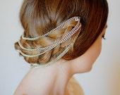 Style #4015 - Twig and Sparrow Hair chain wraparound headband w/ silver crystal pins