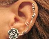 """Cartilage Ear Cuff """"Summer Rose""""  Grey & White Wedding Prom Bridal No Piercing Helix Conch"""