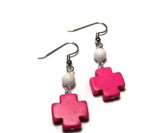 CLEARANCE..Pink Aztec Cross Earrings