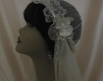 1920s Vintage Veil Wedding Bridal Cap Style Art Deco
