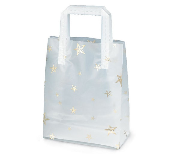 Ct plastic gold stars frosted retail gift bags totes with
