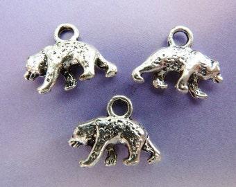 6 pendants, bear, hunting, Oktoberfest, bavarian, antique silver