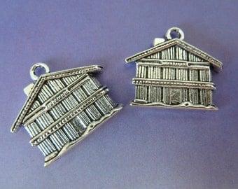2 pendants, bavarian house, Oktoberfest, bavarian, black forrest, antique silver