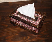 Wooden tissue holder with Palestinian embroidery inlets