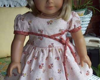 """American Girl doll or 18 inch doll dress and hair clip. """"Fifties Flair"""" dress in beige floral print."""