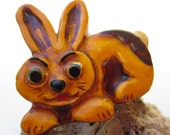 Interesting Plastic Bunny Brooch- West Germany