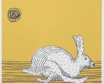 Yellow Hare original art screen print