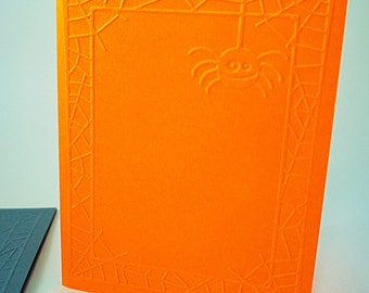 Halloween Blank Card, Spider Card, Spider Frame Card, Spider Web Frame Card, Halloween Web Card, Halloween Spider Card, Spider Embossed Card
