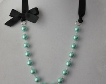 Turquoise Pearl and Black Ribbon Bow Necklace