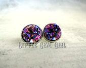 Purple Druzy Quartz Earrings - Mardi Gras Earrings - 10 or 12mm Rainbow Druzy Earrings - Small Druzy Stud Fake Plugs Stainless Steel Avail