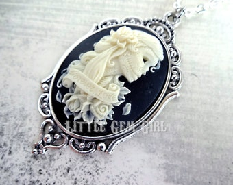 Forever Love Day of the Dead Girl Cameo Necklace - Skeleton Lady Cameo Victorian Gothic Skull Cameo - Dia De Los Muertos Lolita Jewelry