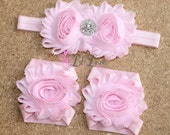 Light Pink Barefoot Baby Sandals with Matching Headband - Flower Sandals - Baby Flower Sandals