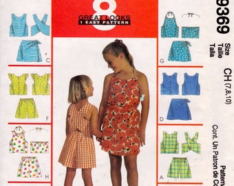 McCall's 9369 Girls' Tops, Shorts and Skort Sets Pattern, UNCUT, Size 7-8-10