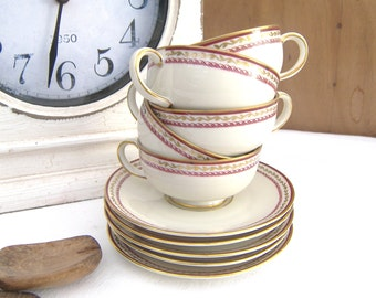Porcelain Cups and Saucers Royal Tettau US Zone Germany 1946 - 1949, China Coffee Cups and Saucers, Porcelain Espresso Cups and Saucers,