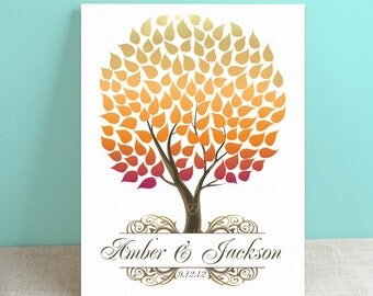 Autumn Guest Book Canvas - Wedding Guest Book Alternative -Seaswik- Peachwik Interactive Gallery Wrapped Canvas - 125 guests Wedding Tree