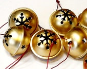 Satin Gold Jingle Bells Metal Snowflake Star Cutout Design 1.5 inch diameter Craft Ringing Bells itsyourcountry
