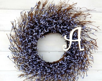 Monogram Wreath-Personalized Gift-COUNTRY CHIC PURPLE Twig Wreath-Summer Door Wreath-Rustic Twig Wreath-Initial Wreath-Scented Wreath