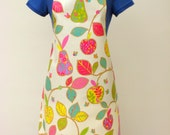 Vibrant Summer Orchard Print Adult Oilcloth Apron, PVC Apron, Waterproof Apron