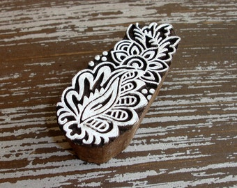 Hand Carved Wood Stamp, Indian Printing Block, Flower Sun Leaf, Mehndi Henna Tattoo, Wooden Ceramic Clay Pottery Textile Stamp from India