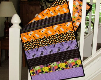 Quilted Halloween Table Runner Spiders, Ghosts and Candy Corn Darling Fabric Halloween Table Topper - Quilted Halloween Party Decoration