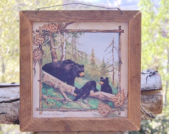 Anita Phillips Black Bears Barn Wood Frame Picture Print