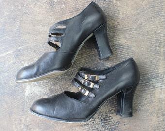 7 1/2 M Triple Strap Mary Jane/ Vintage 90's Heels / Black Leather Women's Shoes