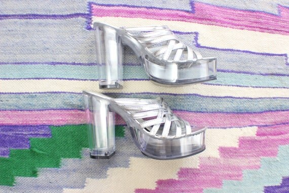 90's Clear Platforms / Vintage Silver See Thru Heels / Women's Size 6 shoes