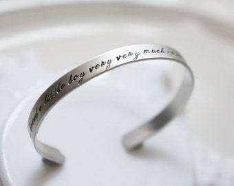 Mothers Day Personalized Cuff Bracelet Sterling Silver Custom Quote Bangle