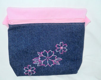 Cute Indigo Denim and Pink Corduroy Pouch, Makeup Bag, Embroidered Flowers