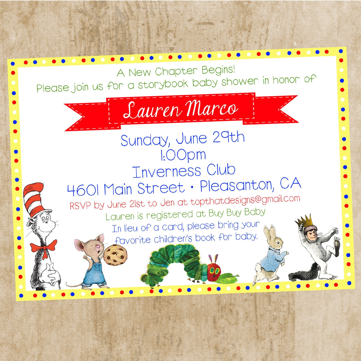 children 39 s book themed baby shower invitation by jenleonardini