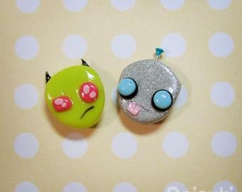 Invader Zim and Gir - Hand-sculpted kawaii Earrings