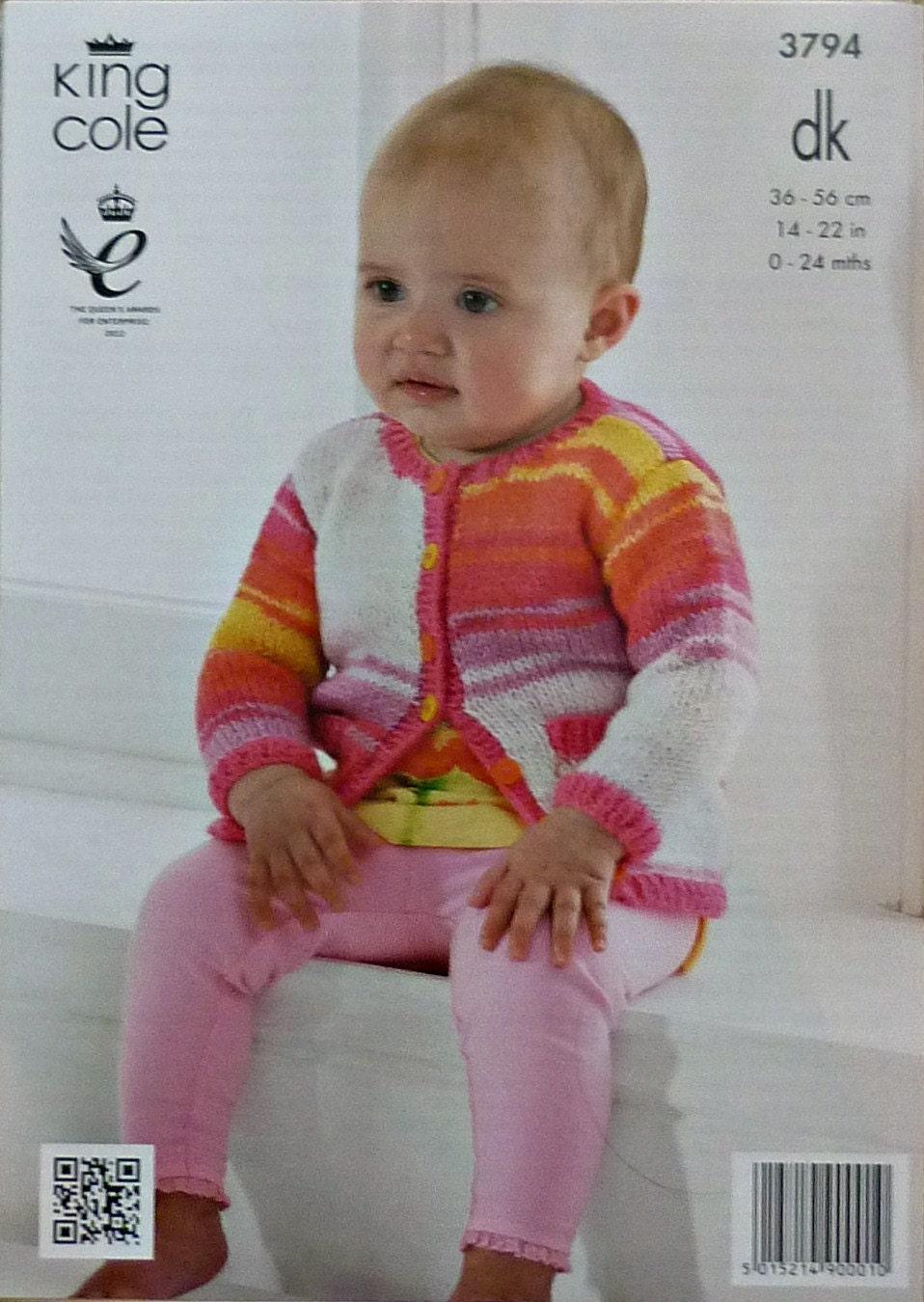 Baby Knitting Pattern K3794 Babies Long Sleeve Round Neck Cardigan with Pocke...