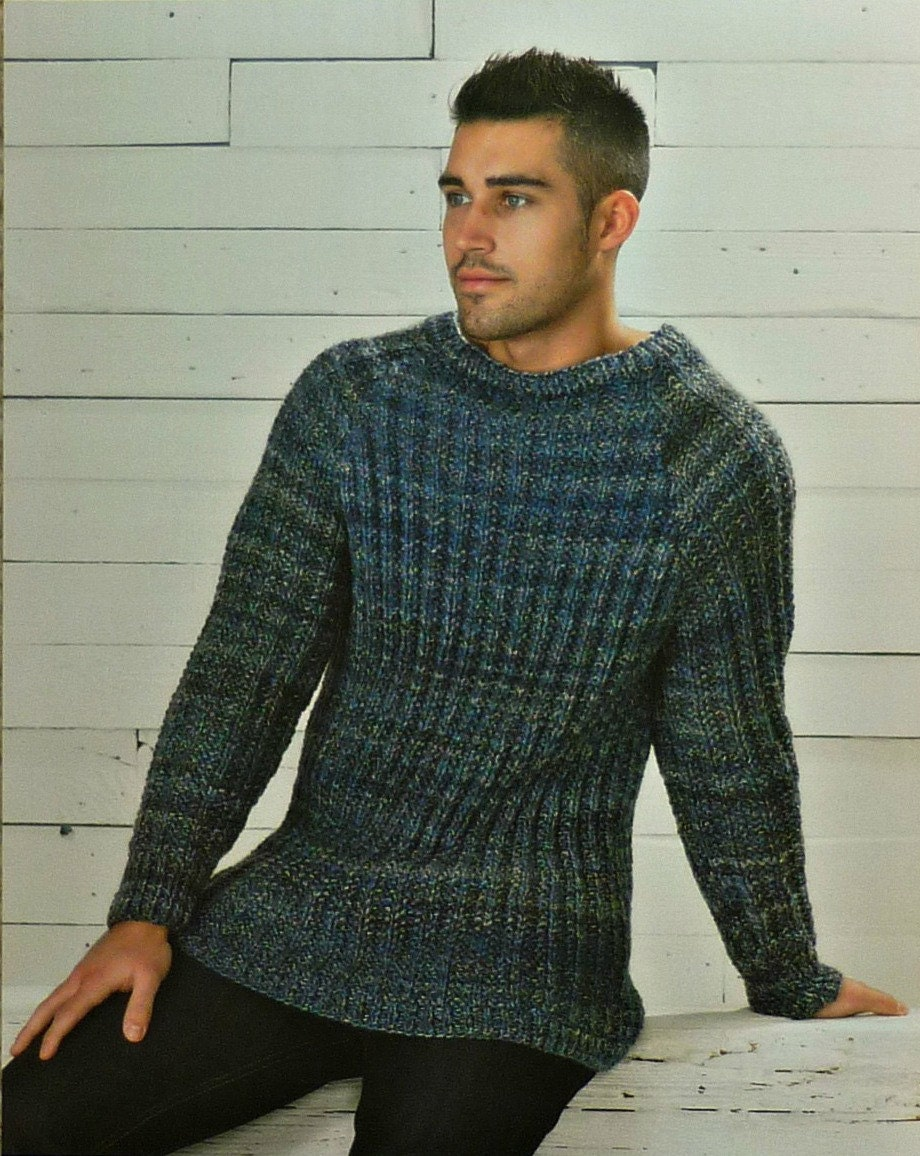 Mens Knitting Pattern W5734 Mens Long Sleeve Mock Fishermans