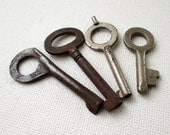 Vintage/Antique Keys Four One Patented 1882 Steampunk Supply Lot 245