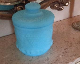 Vintage FENTON GlassTobacco Jar Biscuit Jar Blue Satin Grape and Cable Design