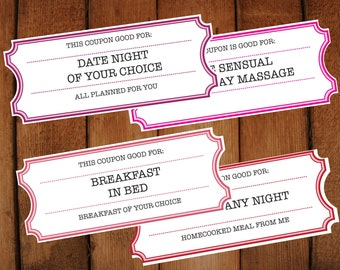 Valentine Printable Tickets DIY Editable Printable Vouchers Mothers Day,  Valentines Day  Print Your Own Voucher