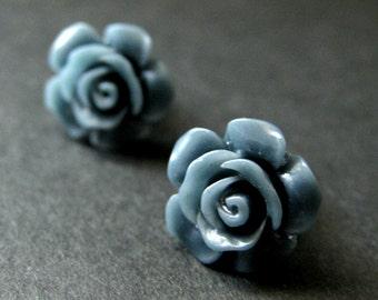 Dark Blue Flower Earrings. Cadet Blue Earrings. Gardenia Flower Earrings. Silver Stud Earrings. Blue Rose Earrings. Handmade Jewelry.