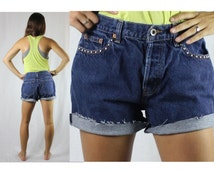 Vintage Retro Gap Studded Dark Jean High Waisted Shorts