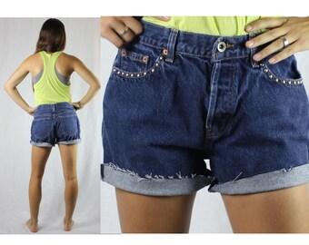 Vintage Retro Gap Studded Dark Jean High Waisted Shorts