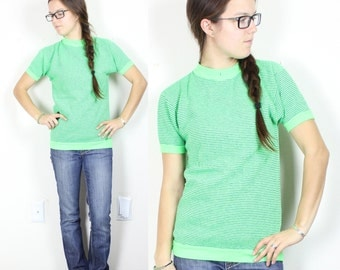SALE Vintage Retro Neon Green Striped Shirt
