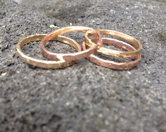 14K Solid Gold Stackable Ring in Gold and Rose Gold 14g, 2mm thick (individually sold)