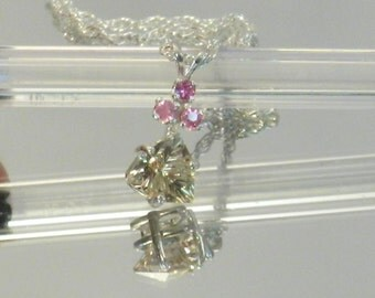 Oregon Sunstone  Necklace and PINK SAPPHIRES  #014-24