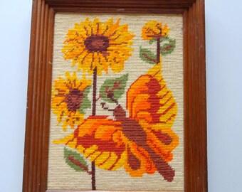 Vintage Butterfly Yarn Framed Art 1970s
