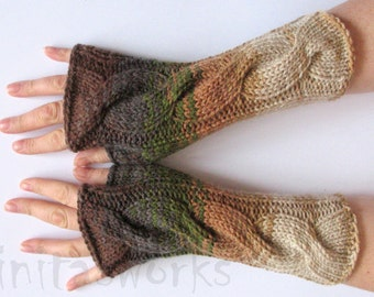 Fingerless Gloves  Brown Beige Gray Green wrist warmers Knit