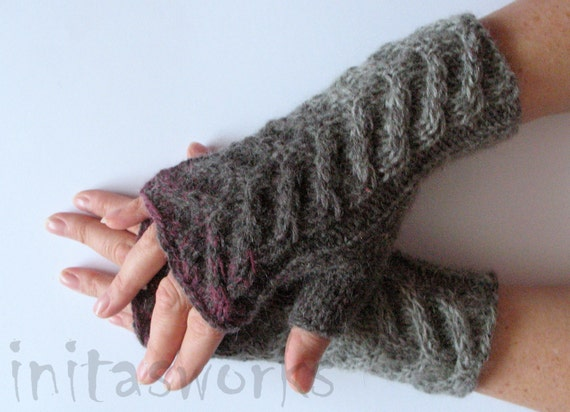 Fingerless Gloves Gray Purple Burgundy wrist warmers